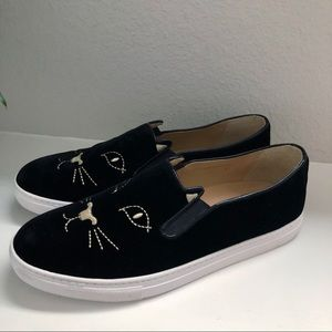 CHARLOTTE OLYMPIA COOL CAT KITTY SLIP ON SNEAKERS
